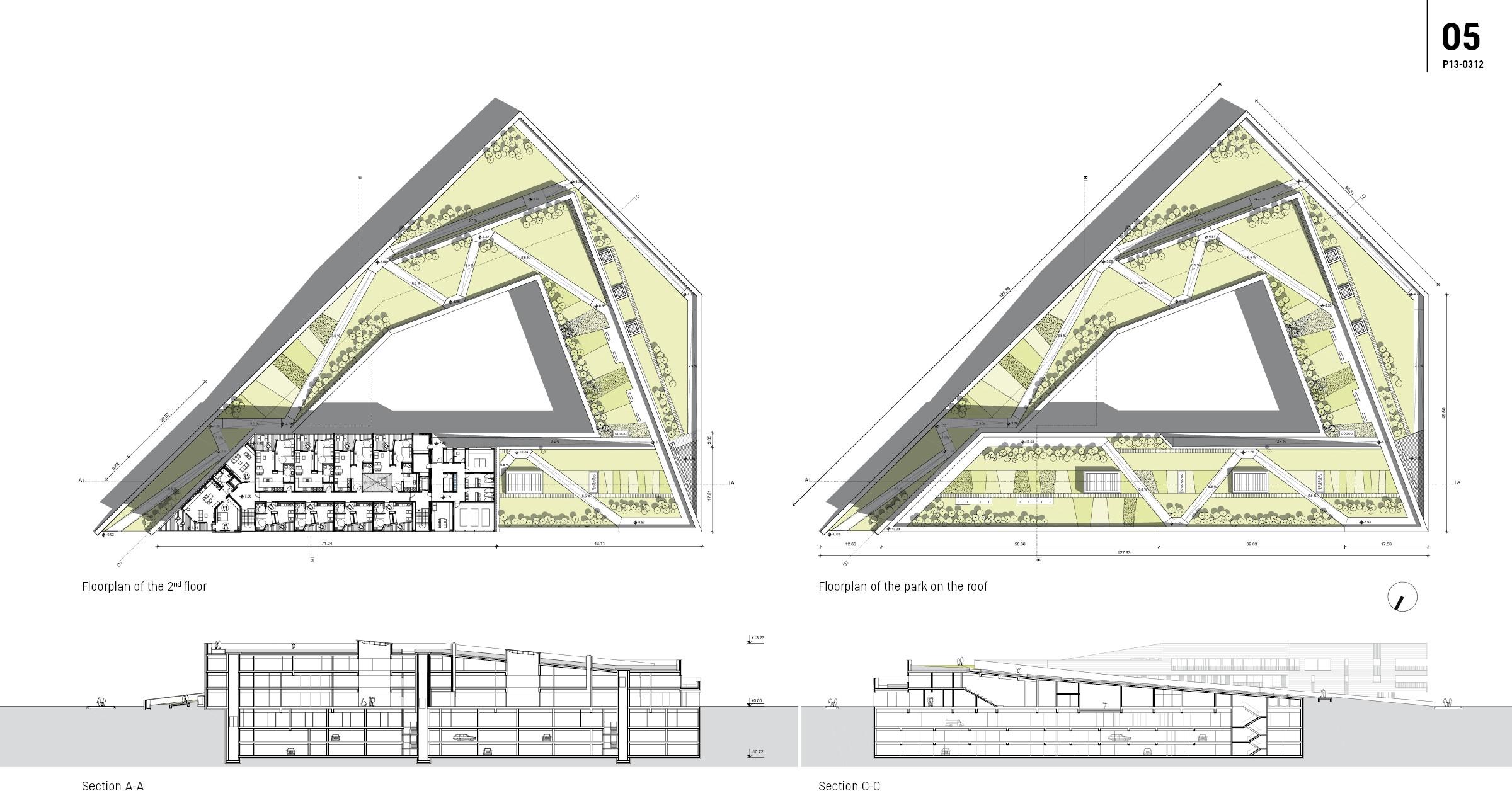 Kindergarten Plan Elevation Section : Archiprix intergenerational centre in ljubljana
